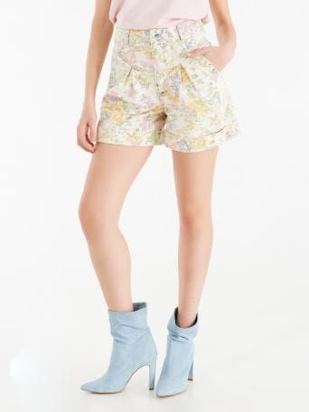 Denim shorts with floral print