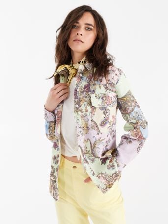 Utility shirt with multicolour paisley print