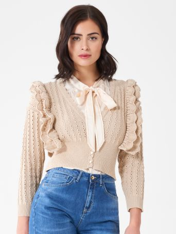 Cardigan cropped à volants