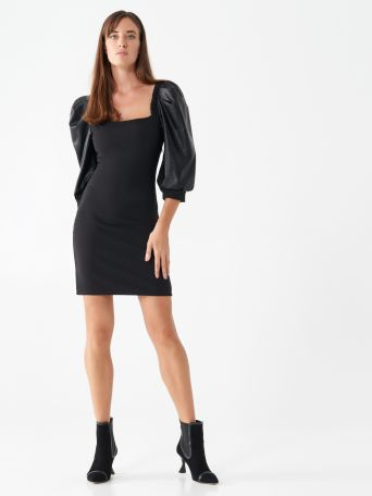 Faux leather sheath dress with balloon sleeves