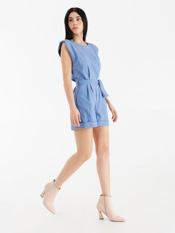 Short one-piece denim suit