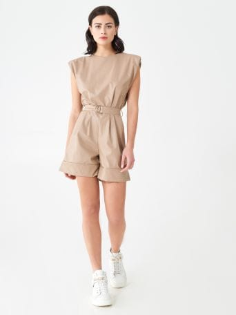 Short faux leather one-piece suit