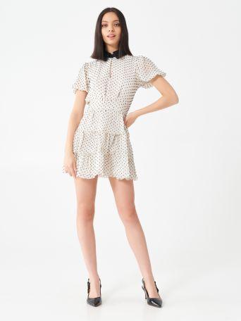 Short polka dot dress with lace collar
