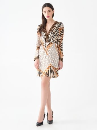 Short animal-print dress with Monogram