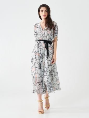 Chic flowers midi dress