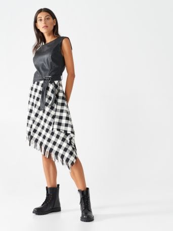 Tartan and faux leather dress