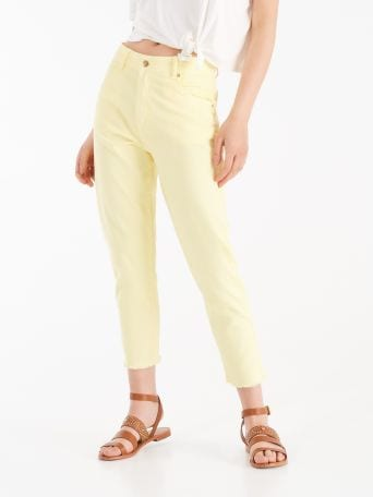 """Mom-fit"" trousers with fringe"
